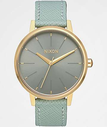 Nixon Kensington Leather Light Gold & Agave Analog Watch