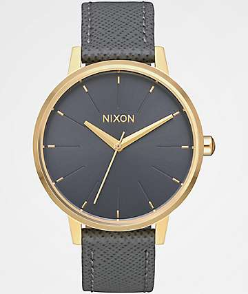 Nixon Kensington Leather Light Gold & Charcoal Analog Watch