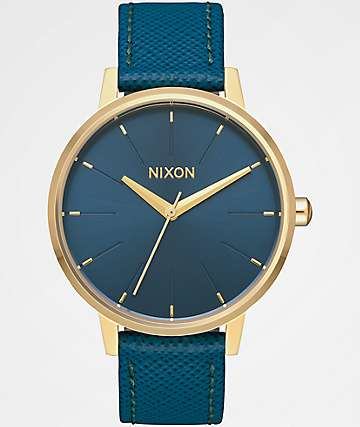 Nixon Kensington Leather Light Gold & Mallard Watch