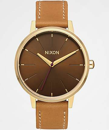 Nixon Kensington Leather Light Gold & Manuka Watch