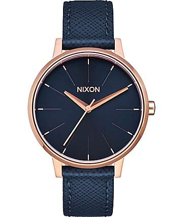 Nixon Kensington Leather Navy & Rose Gold Watch