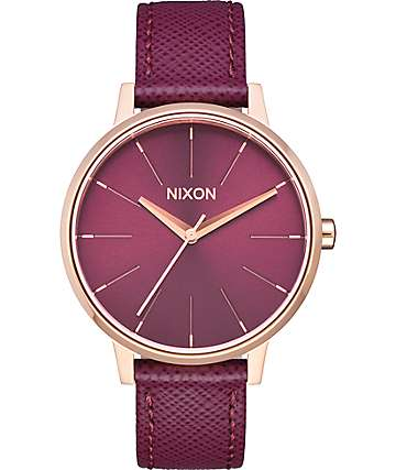 Nixon Kensington Leather Rose Gold & Bordeaux Watch
