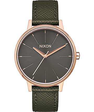 Nixon Kensington Leather Rose Gold & Green Watch