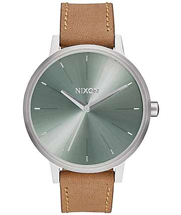 Nixon Kensington Leather Saddle & Sage Analog Watch