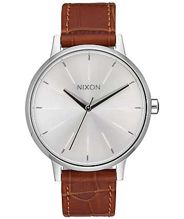 Nixon Kensington Leather Silver & Saddle Gator Watch