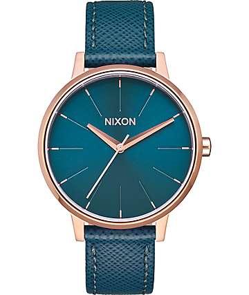 Nixon Kensington Leather reloj color oro rosa y verde azulado
