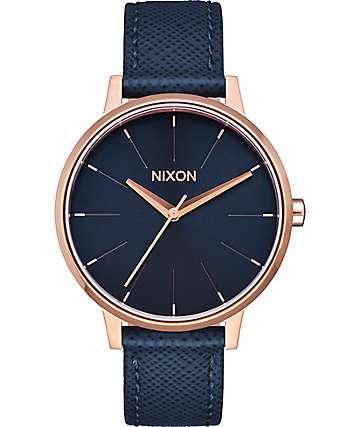 Nixon Kensington Leather reloj en azul marino y color oro rosa