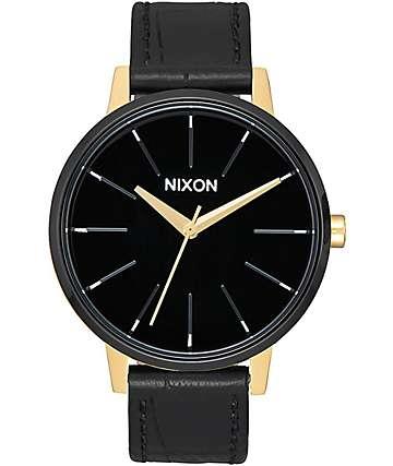 Nixon Kensington Leather reloj en blanco, negro y color oro