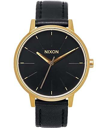 Nixon Kensington Leather reloj en color oro y negro