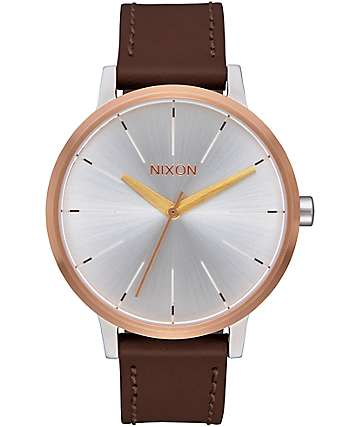 Nixon Kensington Leather reloj en colores oro, plata y oro rosa