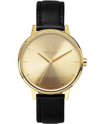 Nixon Kensington Leather reloj en negro y color oro