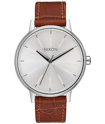 Nixon Kensington Leather reloj en plata y negro