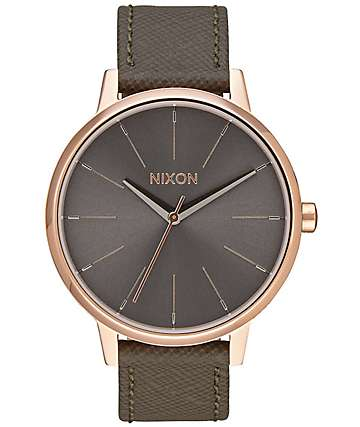 Nixon Kensington Leather reloj en rosa y gris pardo
