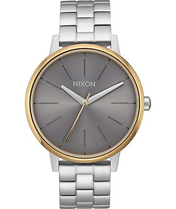 Nixon Kensington Silver, Gold & Grey Watch