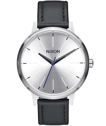 Nixon Kensington Silver & Black Leather Watch