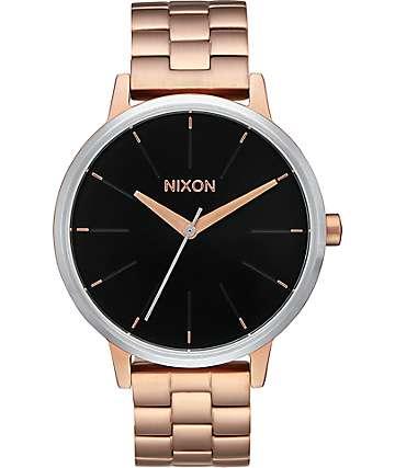 Nixon Kensington reloj en oro rosa & negro