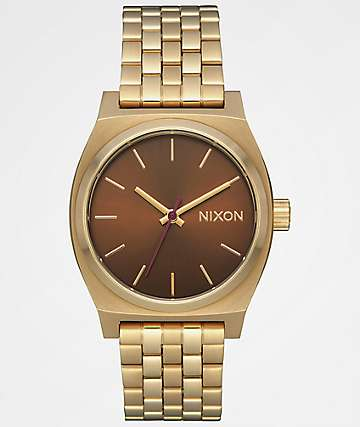 Nixon Medium Time Teller Gold & Brown Analog Watch