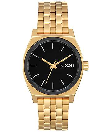 Nixon Medium Time Teller reloj en blanco, negro y color oro