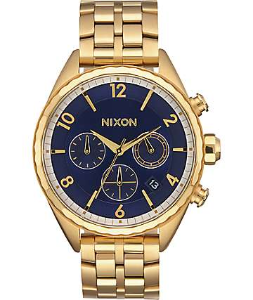 Nixon Minx Chrono All Gold & Navy Watch