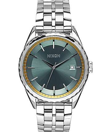 Nixon Minx Silver, Sage & Gold Watch