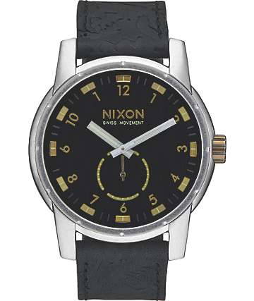 Nixon Patriot Black & Brass Leather Watch