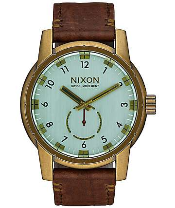 Nixon Patriot Leather Brass & Green Crystal Watch