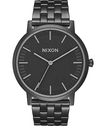 Nixon Porter 35 All reloj en negro y color plomo