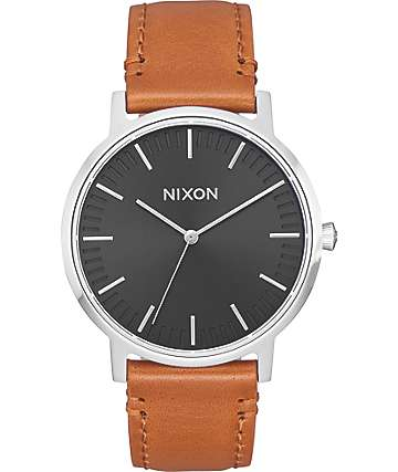 Nixon Porter 35 Leather Black & Saddle Watch