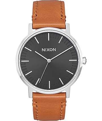 Nixon Porter 35 Leather reloj en negro y marrón
