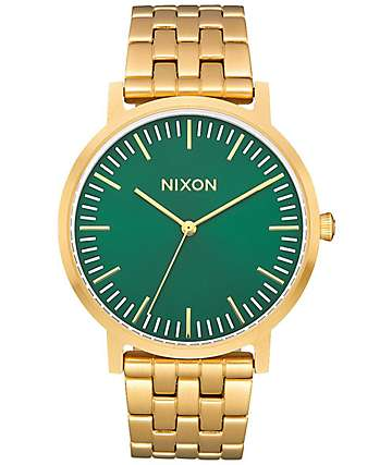 Nixon Porter All Gold & Green Sunray Watch