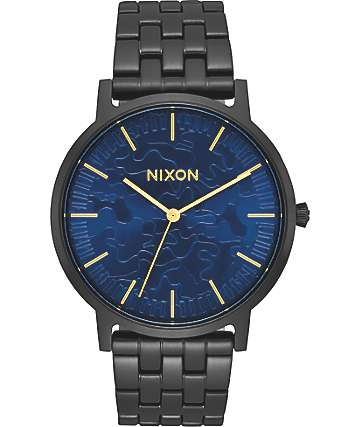 Nixon Porter Black & Camo Sunray Analog Watch
