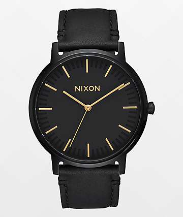 Nixon Porter Leather reloj en negro y color oro