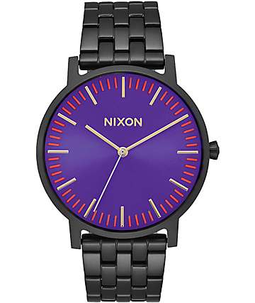 Nixon Porter reloj analógico en negro y morado