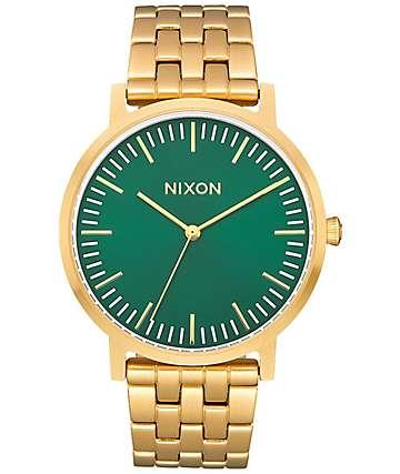 Nixon Porter reloj en oro y verde
