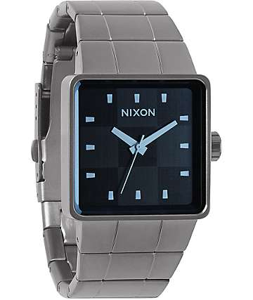 Nixon Quatro Gunmetal & Crystal Blue Analog Watch