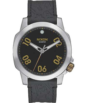 Nixon Ranger 40 Black & Brass Leather Watch