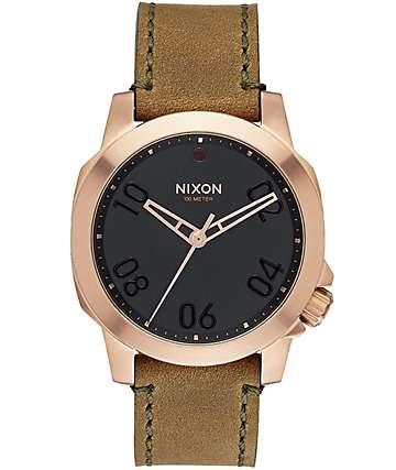 Nixon Ranger 40 Rose Gold & Leather Watch