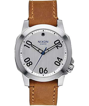 Nixon Ranger 40 Silver & Leather Watch