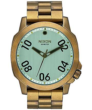 Nixon Ranger 45 Brass & Green Crystal Watch