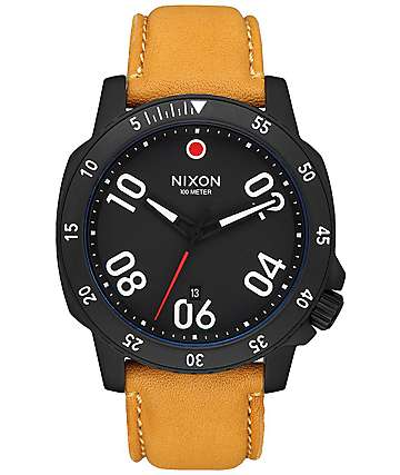 Nixon Ranger Leather All Black & Goldenrod Analog Watch