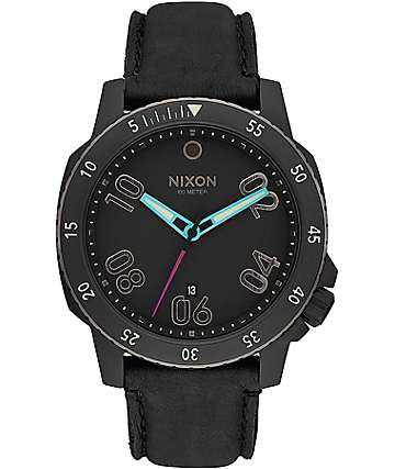Nixon Ranger Leather All Black & Multi Analog Watch