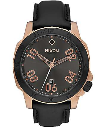 Nixon Ranger Leather Rose Gold & Gunmetal Sunray Analog Watch