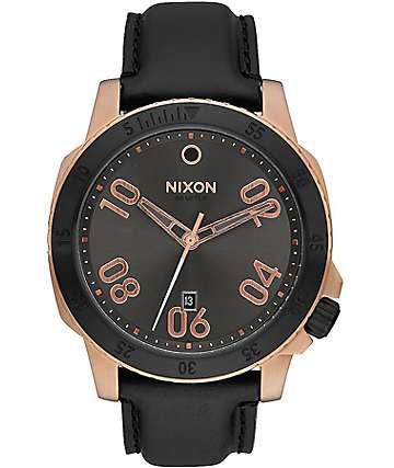 Nixon Ranger Leather Rose Gold & Gunmetal Sunray Analog Watch