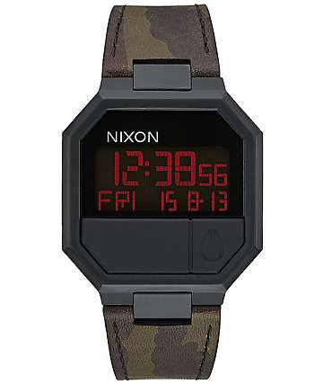 Nixon Re-Run Leather All Black & Camo Watch