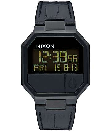 Nixon Re-Run Leather Digital Watch