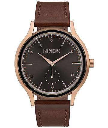 Nixon Sala Leather Rose Gold & Burgundy Watch
