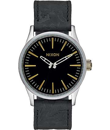 Nixon Sentry 38 Black & Brass Leather Watch