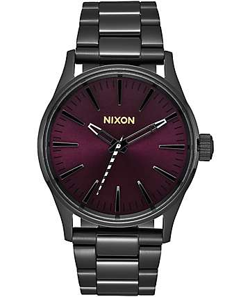 Nixon Sentry 38 Black & Purple Analog Watch