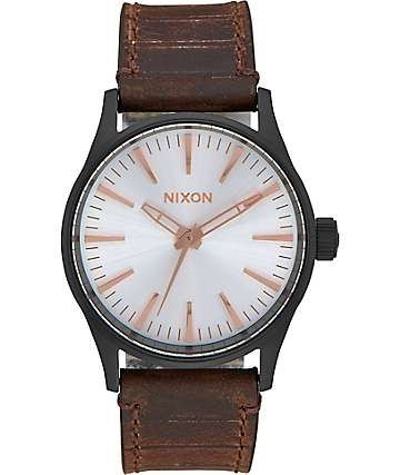 Nixon Sentry 38 Leather Black, Silver & Brown Watch
