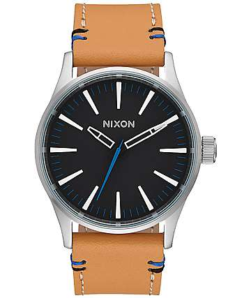 Nixon Sentry 38 Leather Black & Natural Watch